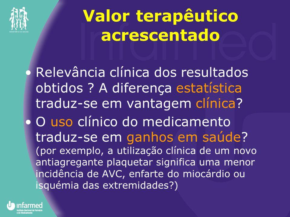 Relevância clínica dos resultados obtidos ? A diferença estatística traduz-se em vantagem clínica? O uso clínico do medicamento traduz-se em ganhos em