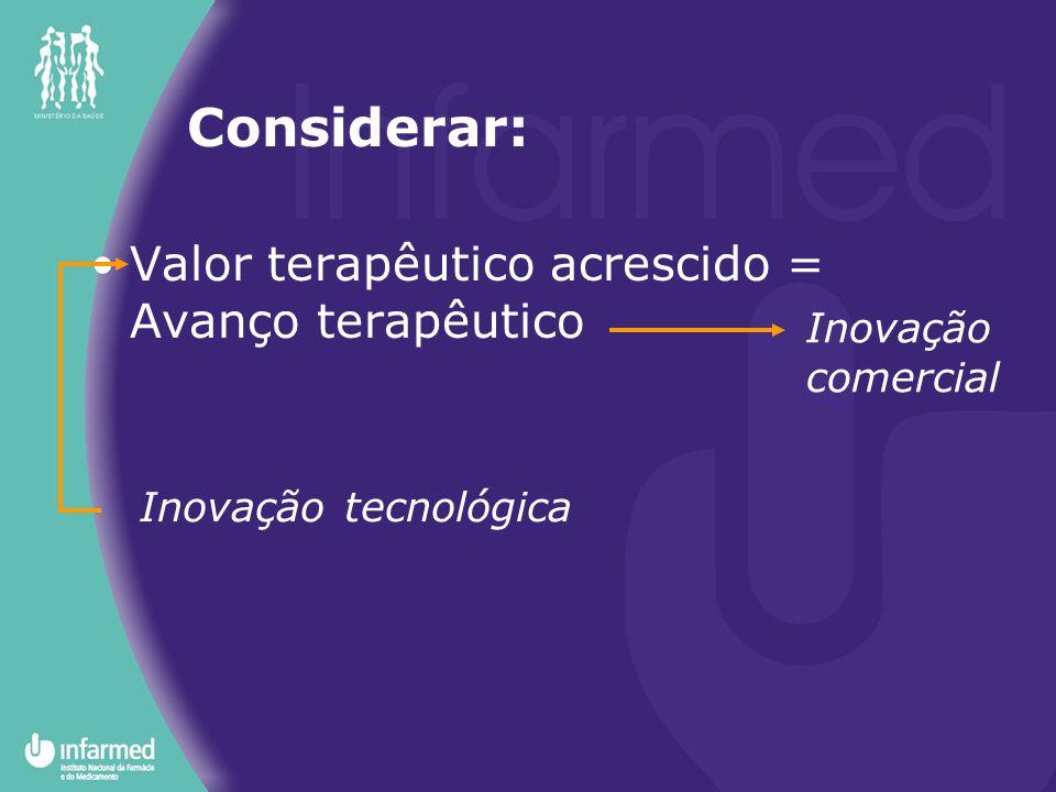 Valor terapêutico acrescido = Avanço terapêutico Inovação tecnológica Inovação comercial Considerar: