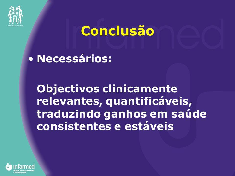 Conclusão Necessários: Objectivos clinicamente relevantes, quantificáveis, traduzindo ganhos em saúde consistentes e estáveis