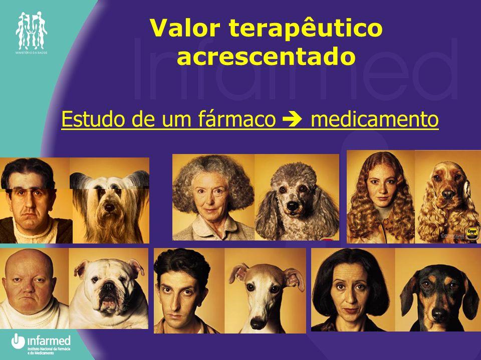 Estudo de um fármaco  medicamento Valor terapêutico acrescentado Estudos clínicos Fase I (farmacocinética/intervalo de doses/toxicidade) (20-80 indiv.