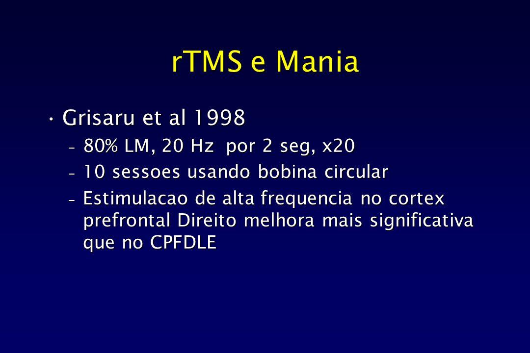 rTMS e Mania Grisaru et al 1998Grisaru et al 1998 – 80% LM, 20 Hz por 2 seg, x20 – 10 sessoes usando bobina circular – Estimulacao de alta frequencia