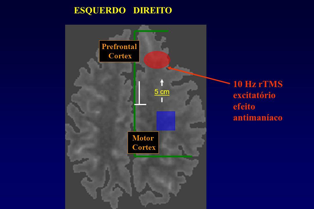ESQUERDO DIREITO 10 Hz rTMS excitatório efeito antimaníaco 5 cm Motor Cortex Prefrontal Cortex