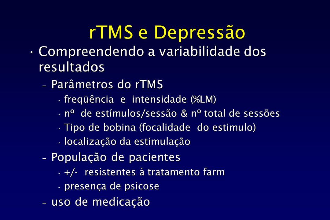 rTMS e Depressão Compreendendo a variabilidade dos resultadosCompreendendo a variabilidade dos resultados – Parâmetros do rTMS freqüência e intensidad