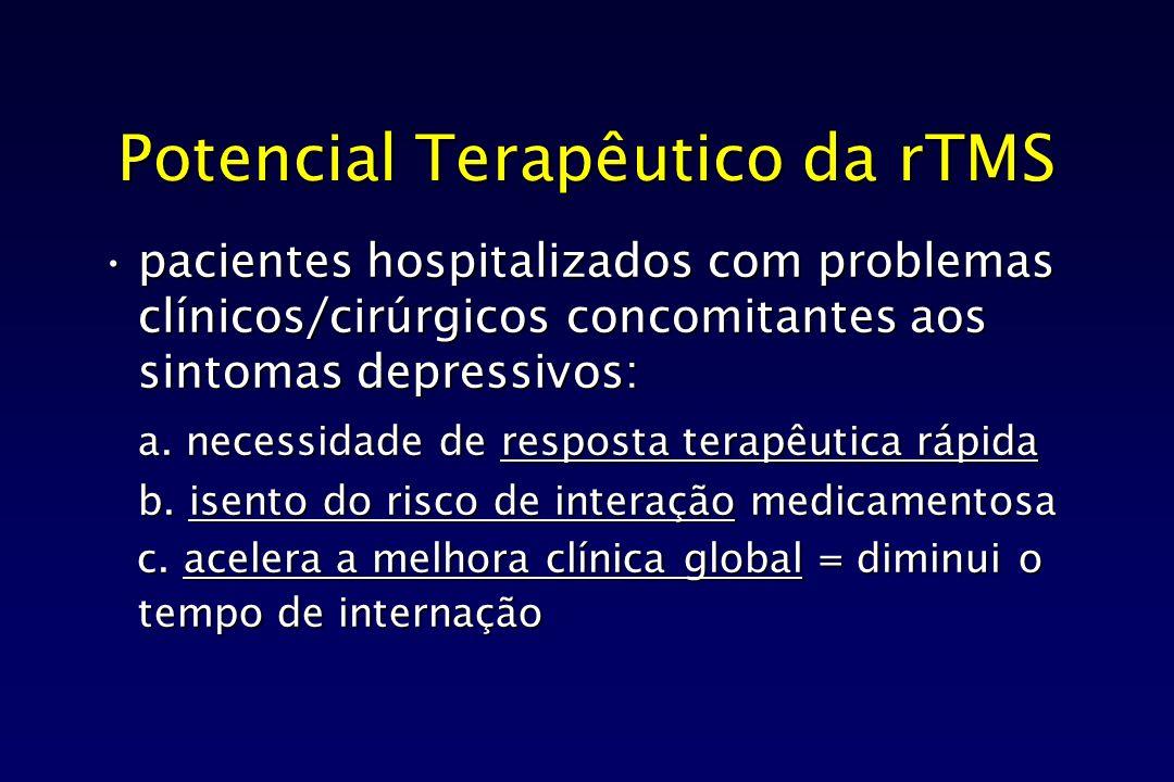 Potencial Terapêutico da rTMS pacientes hospitalizados com problemas clínicos/cirúrgicos concomitantes aos sintomas depressivos:pacientes hospitalizad