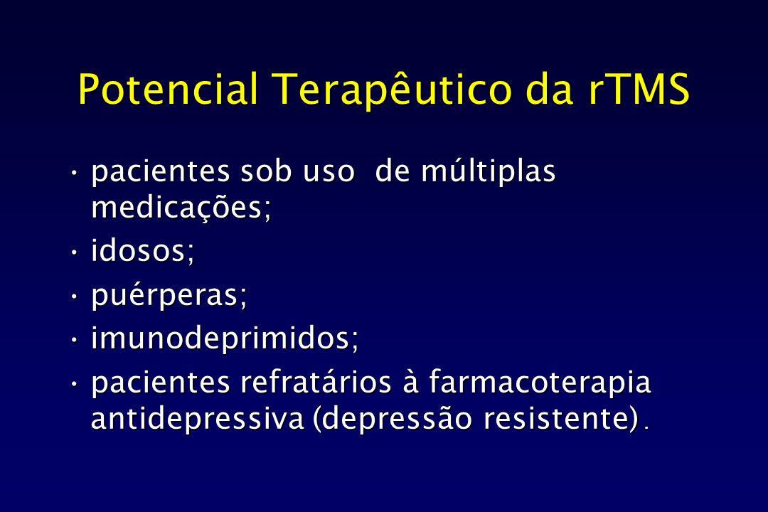 Potencial Terapêutico da rTMS pacientes sob uso de múltiplas medicações;pacientes sob uso de múltiplas medicações; idosos;idosos; puérperas;puérperas;