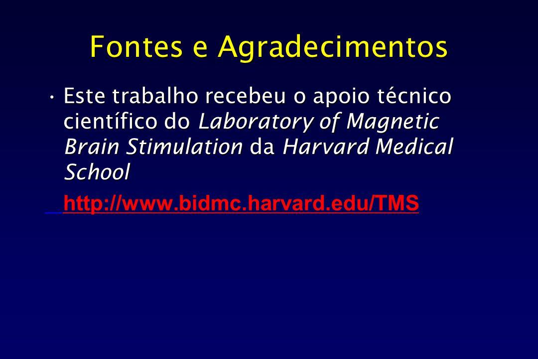 Fontes e Agradecimentos Este trabalho recebeu o apoio técnico científico do Laboratory of Magnetic Brain Stimulation da Harvard Medical SchoolEste tra