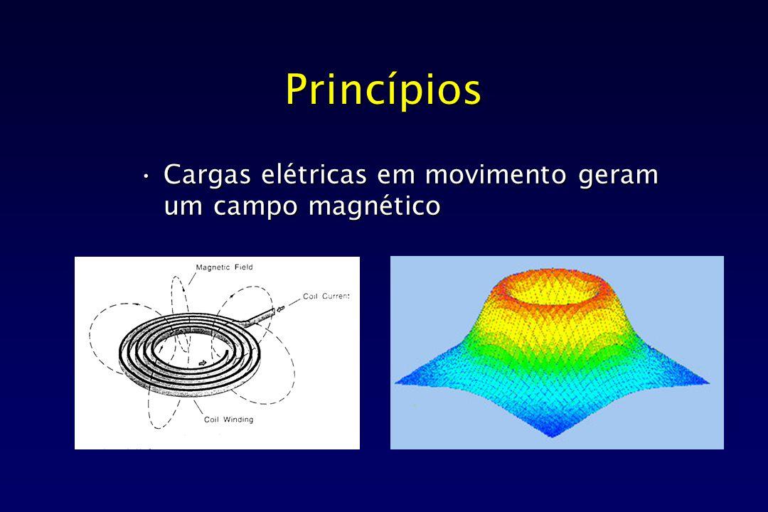Princípios Cargas elétricas em movimento geram um campo magnéticoCargas elétricas em movimento geram um campo magnético