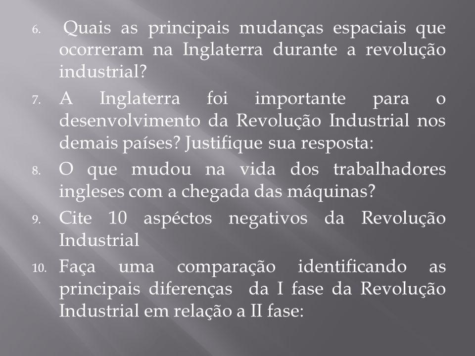 6. Quais as principais mudanças espaciais que ocorreram na Inglaterra durante a revolução industrial? 7. A Inglaterra foi importante para o desenvolvi