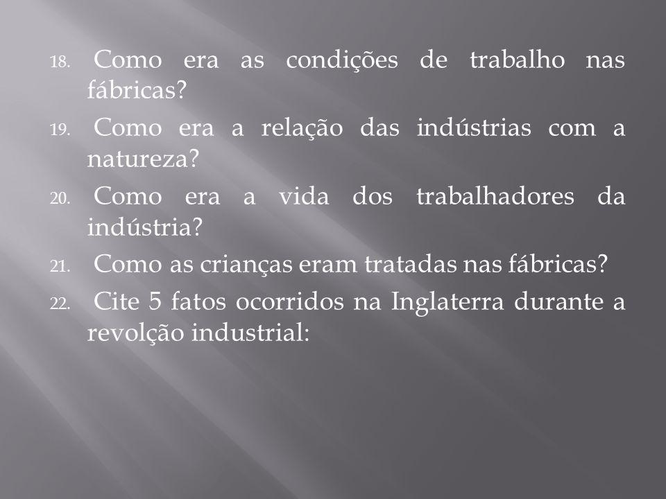 18. Como era as condições de trabalho nas fábricas? 19. Como era a relação das indústrias com a natureza? 20. Como era a vida dos trabalhadores da ind