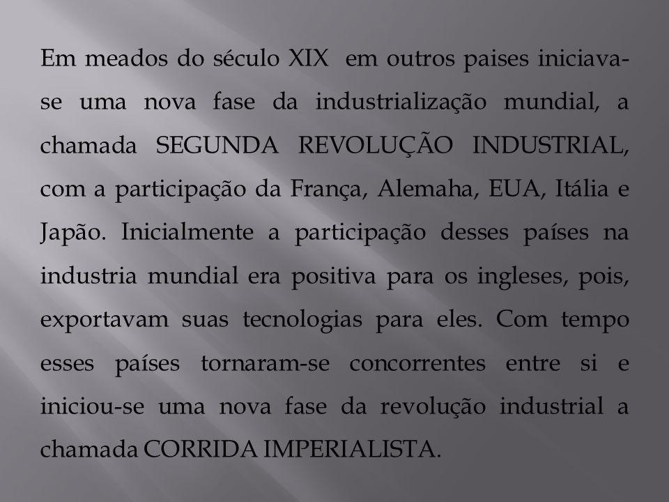 Em meados do século XIX em outros paises iniciava- se uma nova fase da industrialização mundial, a chamada SEGUNDA REVOLUÇÃO INDUSTRIAL, com a partici