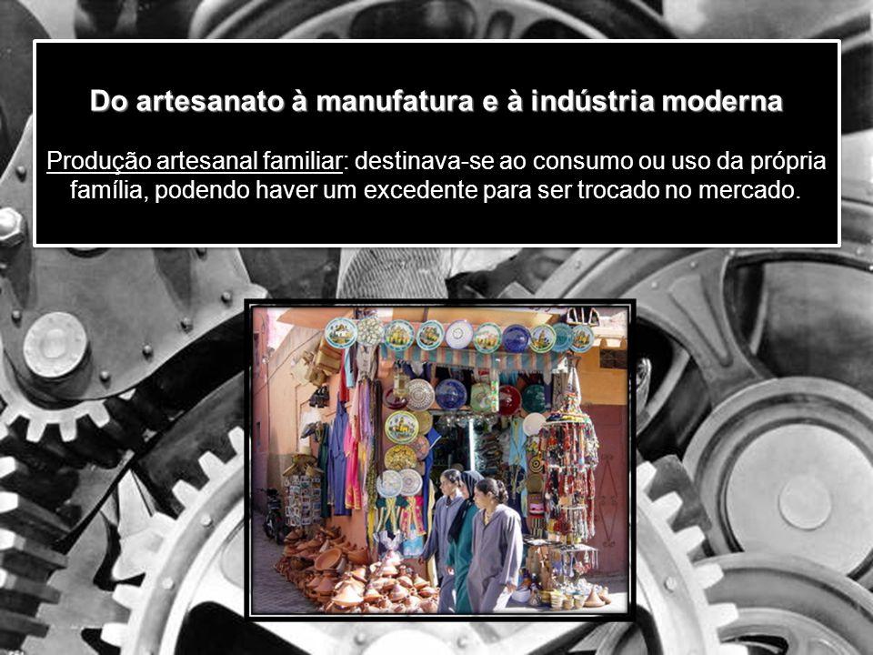 Do artesanato à manufatura e à indústria moderna Do artesanato à manufatura e à indústria moderna Produção artesanal familiar: destinava-se ao consumo ou uso da própria família, podendo haver um excedente para ser trocado no mercado.