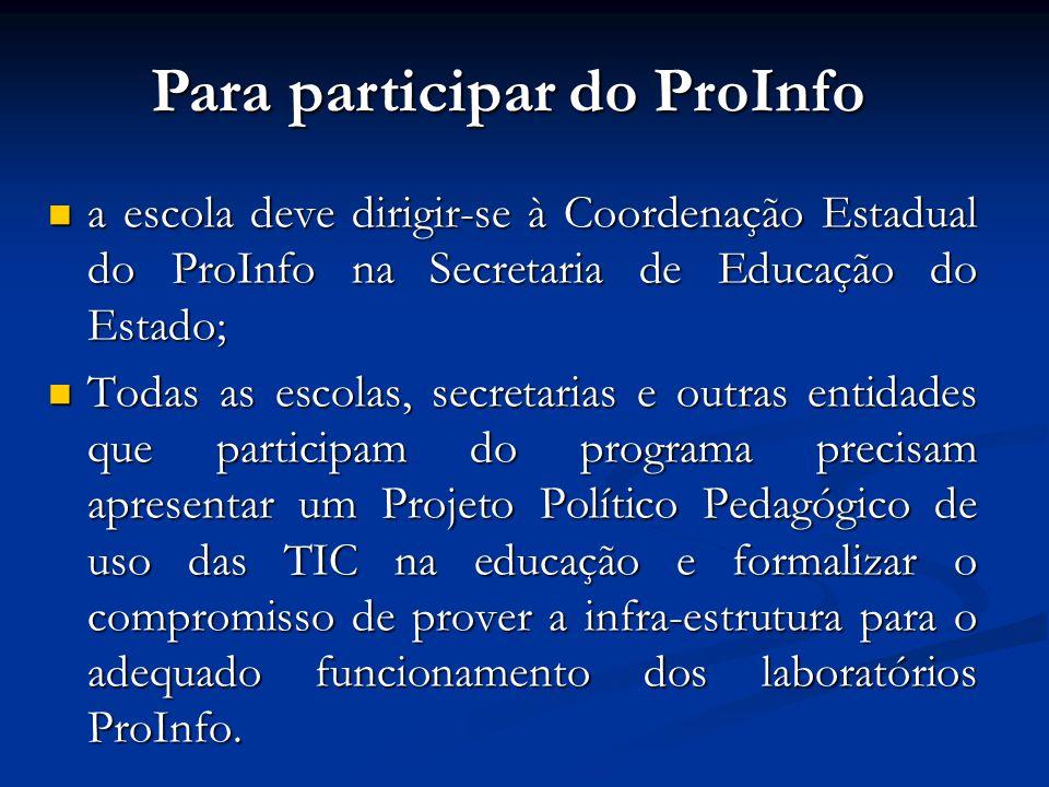 a escola deve dirigir-se à Coordenação Estadual do ProInfo na Secretaria de Educação do Estado; a escola deve dirigir-se à Coordenação Estadual do Pro