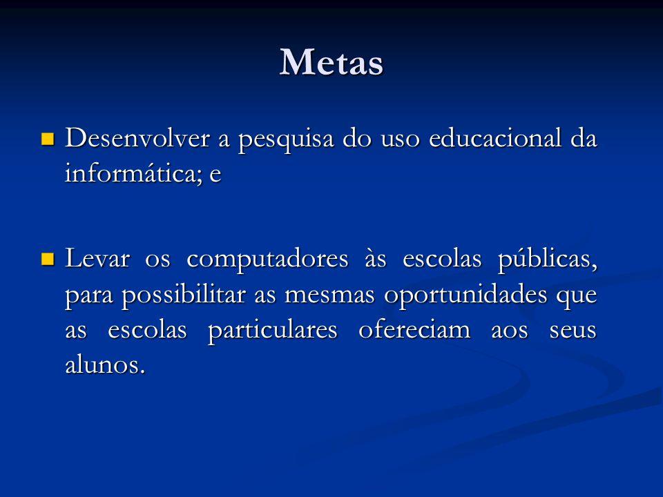 Metas Desenvolver a pesquisa do uso educacional da informática; e Desenvolver a pesquisa do uso educacional da informática; e Levar os computadores às