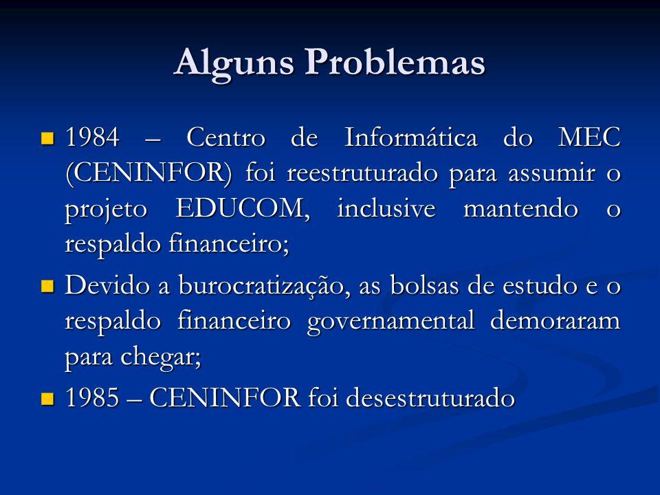 PRONINFE- Programa Nacional de Informática Educativa Baseado no EDUCOM, o governo federal lança, em 1989, o PRONINFE Baseado no EDUCOM, o governo federal lança, em 1989, o PRONINFE Objetivos: Objetivos: Desenvolver a informática educativa no Brasil através de projetos apoiados com fundamentação pedagógica; Desenvolver a informática educativa no Brasil através de projetos apoiados com fundamentação pedagógica; apoiava o desenvolvimento e utilização da informática nos três graus, hoje Ensinos Fundamental, Médio e Superior, e na Educação Especial; apoiava o desenvolvimento e utilização da informática nos três graus, hoje Ensinos Fundamental, Médio e Superior, e na Educação Especial; formação de professores.