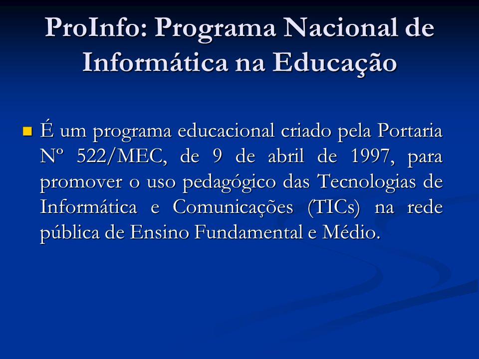 ProInfo: Programa Nacional de Informática na Educação É um programa educacional criado pela Portaria Nº 522/MEC, de 9 de abril de 1997, para promover