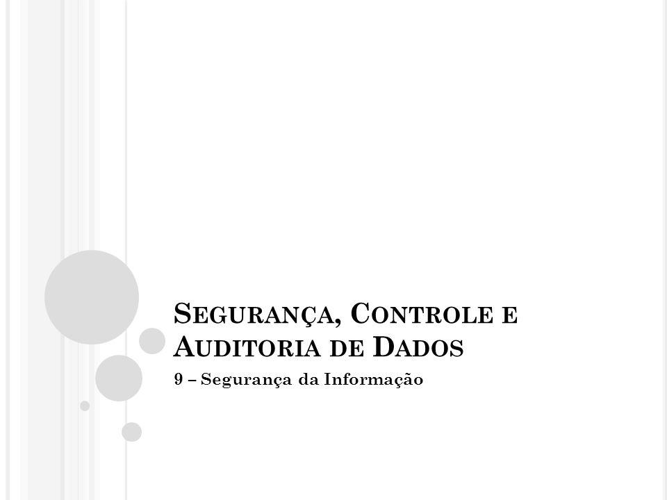 S EGURANÇA, C ONTROLE E A UDITORIA DE D ADOS 9 – Segurança da Informação