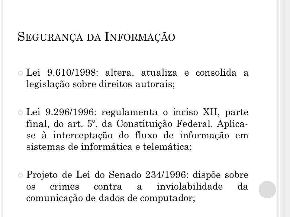 S EGURANÇA DA I NFORMAÇÃO Lei 9.610/1998: altera, atualiza e consolida a legislação sobre direitos autorais; Lei 9.296/1996: regulamenta o inciso XII, parte final, do art.