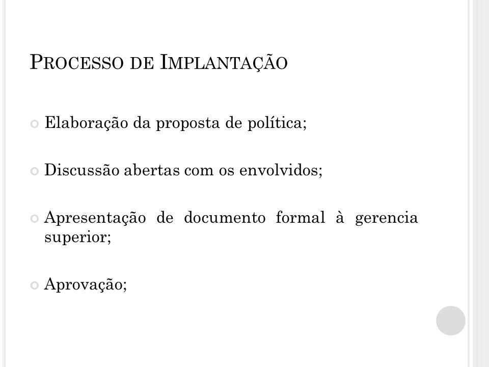 P ROCESSO DE I MPLANTAÇÃO Elaboração da proposta de política; Discussão abertas com os envolvidos; Apresentação de documento formal à gerencia superior; Aprovação;