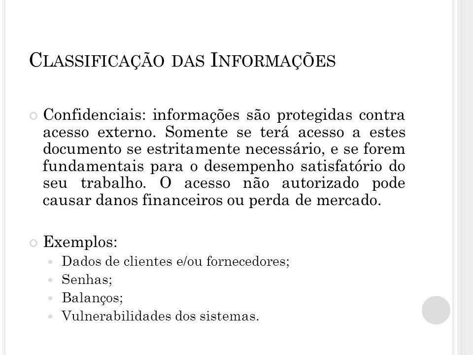 C LASSIFICAÇÃO DAS I NFORMAÇÕES Confidenciais: informações são protegidas contra acesso externo.