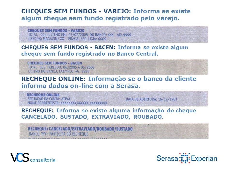 CHEQUES SEM FUNDOS - VAREJO: Informa se existe algum cheque sem fundo registrado pelo varejo. CHEQUES SEM FUNDOS - BACEN: Informa se existe algum cheq