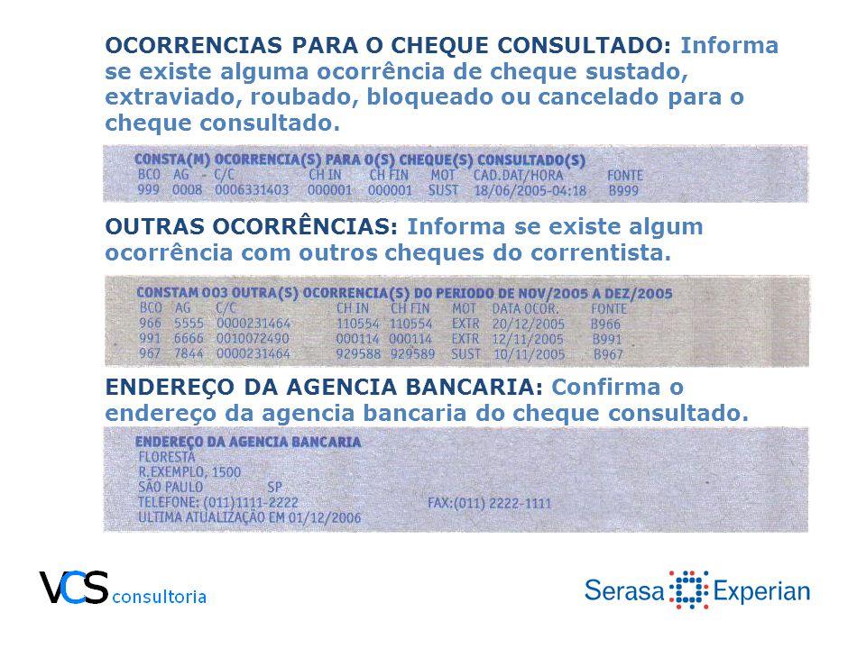 OCORRENCIAS PARA O CHEQUE CONSULTADO: Informa se existe alguma ocorrência de cheque sustado, extraviado, roubado, bloqueado ou cancelado para o cheque