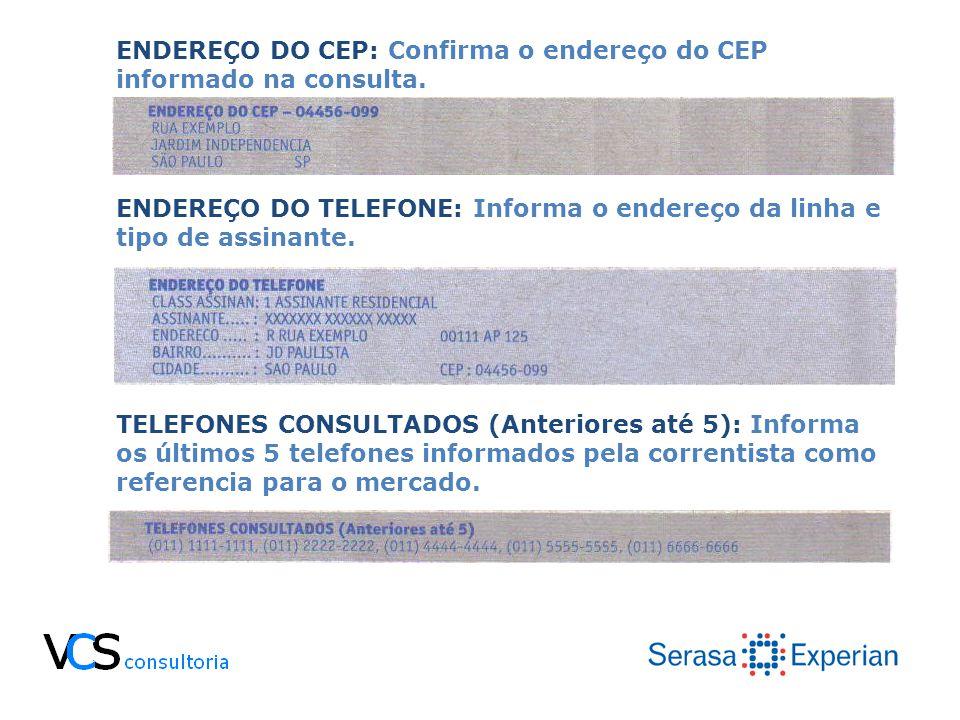 ENDEREÇO DO CEP: Confirma o endereço do CEP informado na consulta. ENDEREÇO DO TELEFONE: Informa o endereço da linha e tipo de assinante. TELEFONES CO
