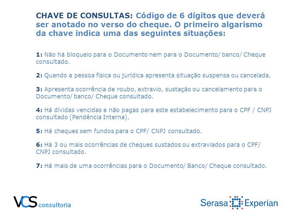 CHAVE DE CONSULTAS: Código de 6 dígitos que deverá ser anotado no verso do cheque. O primeiro algarismo da chave indica uma das seguintes situações: 1
