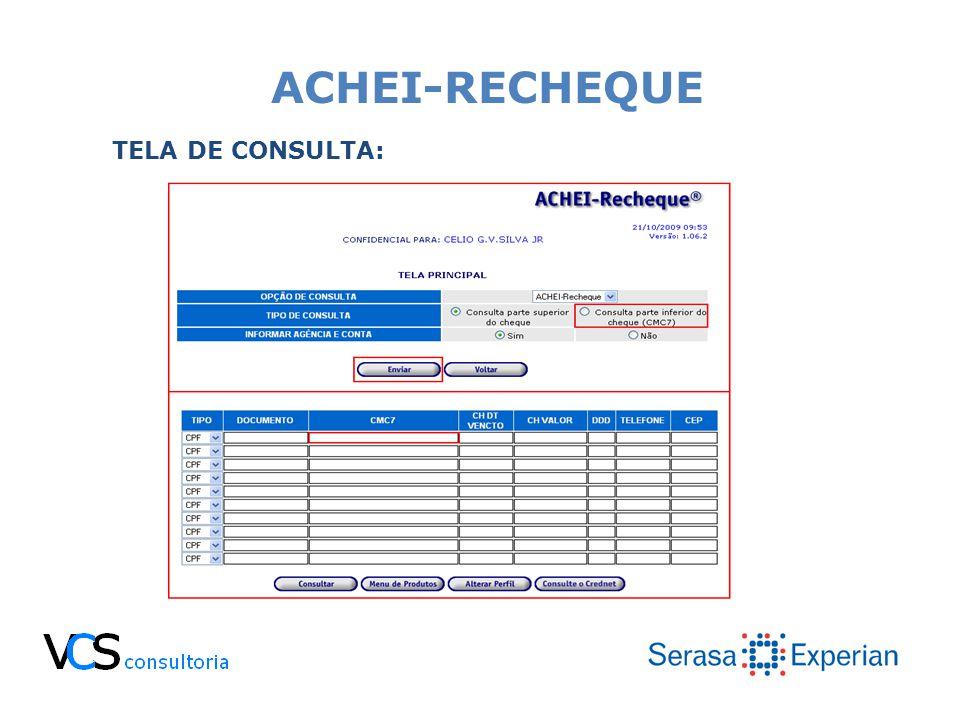 ACHEI-RECHEQUE TELA DE CONSULTA: