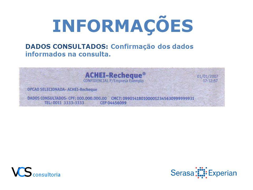 INFORMAÇÕES DADOS CONSULTADOS: Confirmação dos dados informados na consulta.