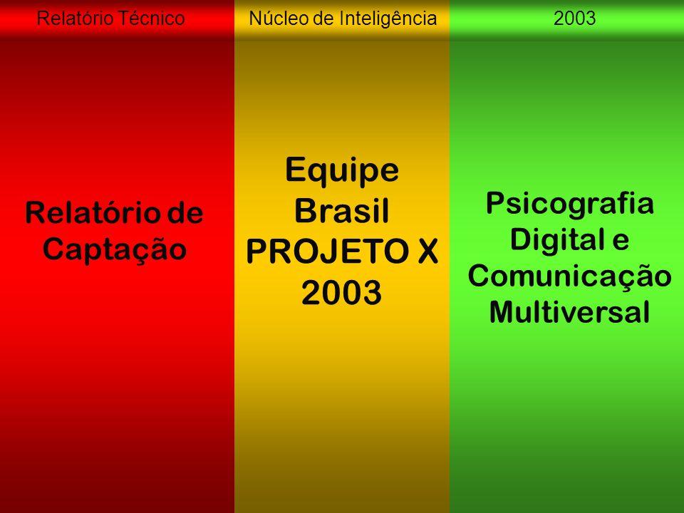 Núcleo de Inteligência2003Relatório Técnico Relatório de Captação Equipe Brasil PROJETO X 2003 Psicografia Digital e Comunicação Multiversal