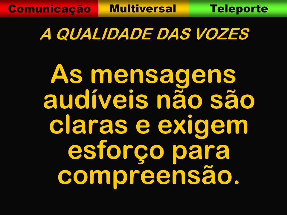 Comunicação MultiversalTeleporte A QUALIDADE DAS VOZES As mensagens audíveis não são claras e exigem esforço para compreensão.