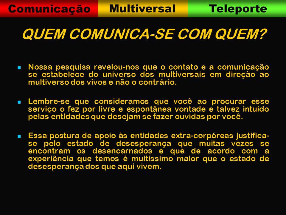 Comunicação MultiversalTeleporte QUEM COMUNICA-SE COM QUEM.