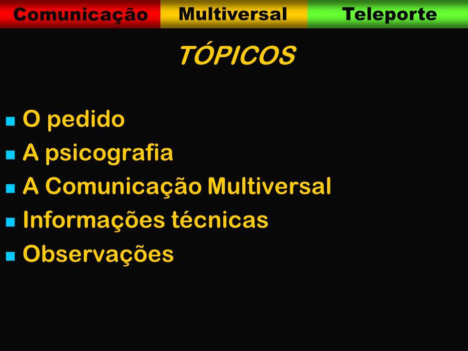 Comunicação MultiversalTeleporte TÓPICOS O pedido A psicografia A Comunicação Multiversal Informações técnicas Observações