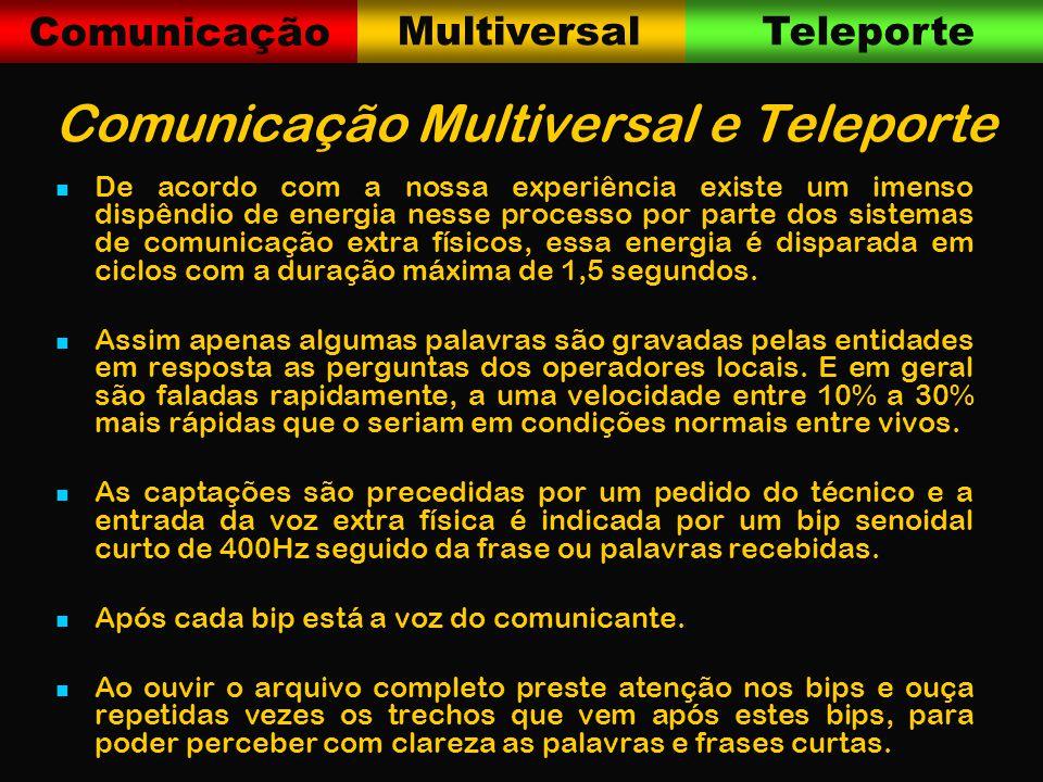 Comunicação MultiversalTeleporte Comunicação Multiversal e Teleporte De acordo com a nossa experiência existe um imenso dispêndio de energia nesse processo por parte dos sistemas de comunicação extra físicos, essa energia é disparada em ciclos com a duração máxima de 1,5 segundos.