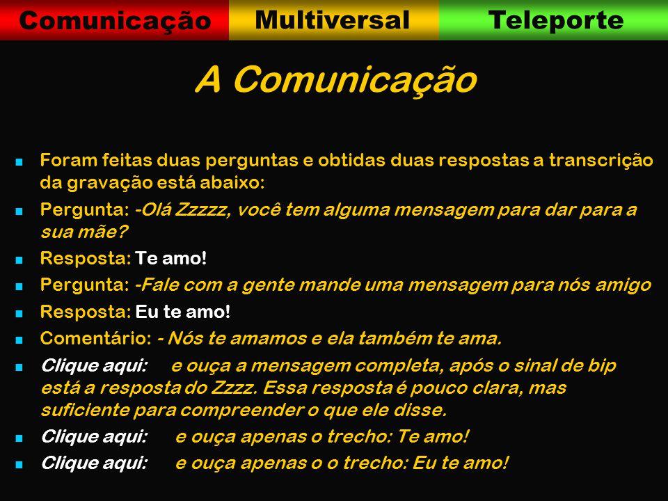Comunicação MultiversalTeleporte A Comunicação Foram feitas duas perguntas e obtidas duas respostas a transcrição da gravação está abaixo: Pergunta: -Olá Zzzzz, você tem alguma mensagem para dar para a sua mãe.
