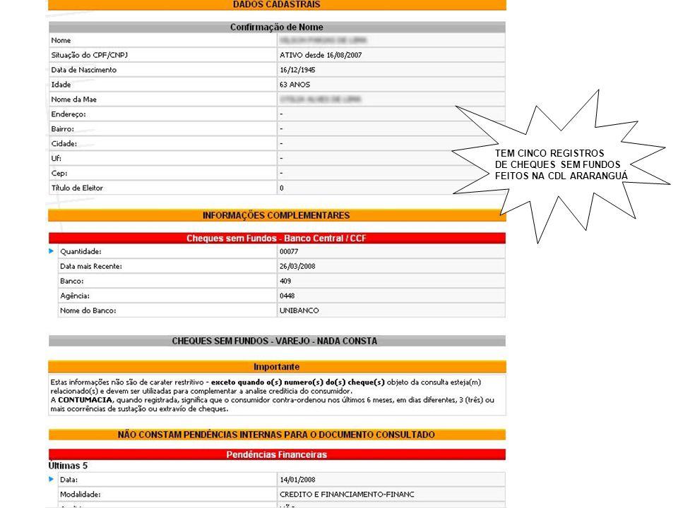 Tem 5 registros do SPC (crediário) - Das 5 pendências, 3 delas, que são bancos, aparecem na consulta 02 do SPC.