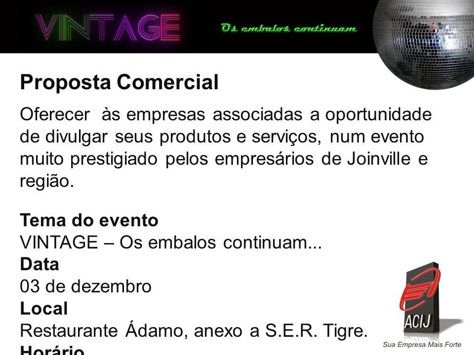 Proposta Comercial Oferecer às empresas associadas a oportunidade de divulgar seus produtos e serviços, num evento muito prestigiado pelos empresários de Joinville e região.