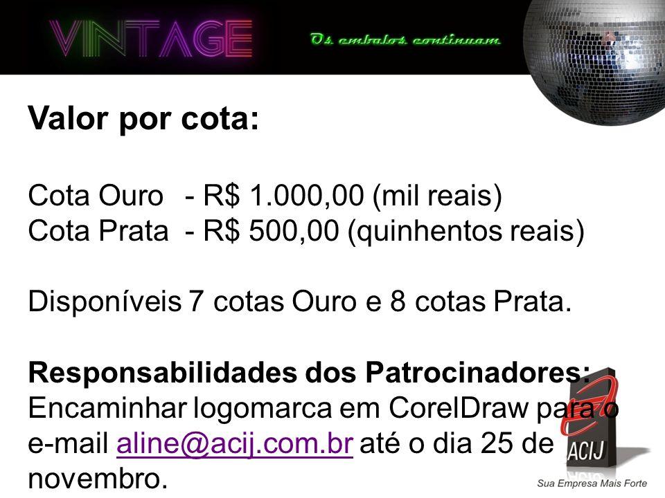 Valor por cota: Cota Ouro - R$ 1.000,00 (mil reais) Cota Prata- R$ 500,00 (quinhentos reais) Disponíveis 7 cotas Ouro e 8 cotas Prata.