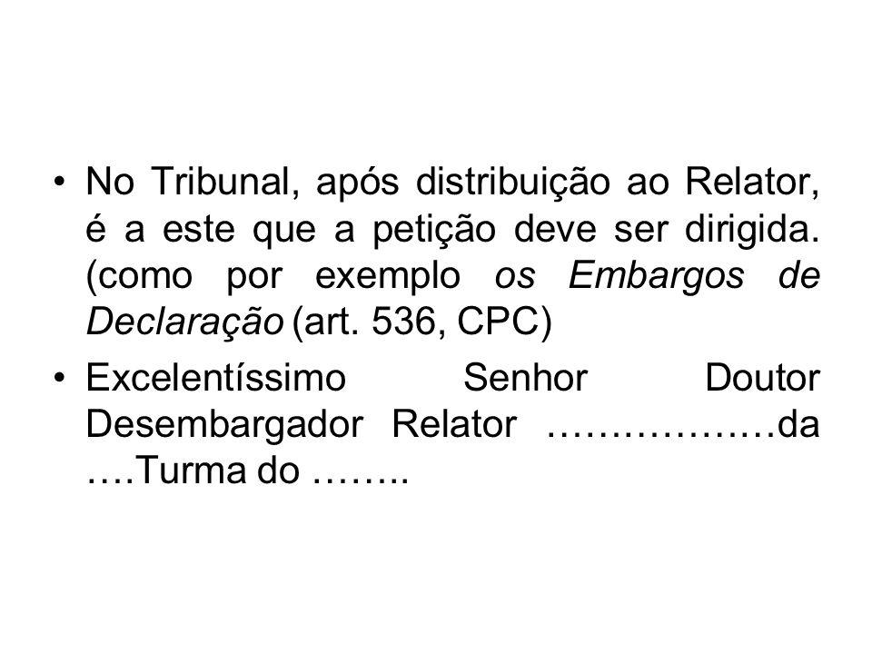 No Tribunal, após distribuição ao Relator, é a este que a petição deve ser dirigida.