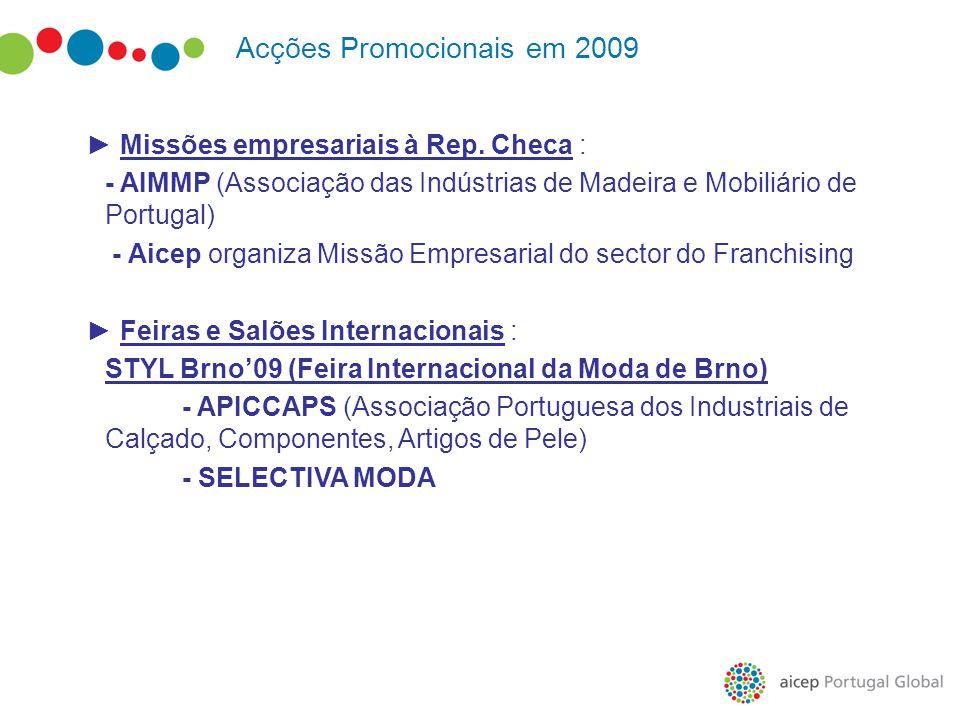 Acções Promocionais em 2009 ► Missões empresariais à Rep. Checa : - AIMMP (Associação das Indústrias de Madeira e Mobiliário de Portugal) - Aicep orga