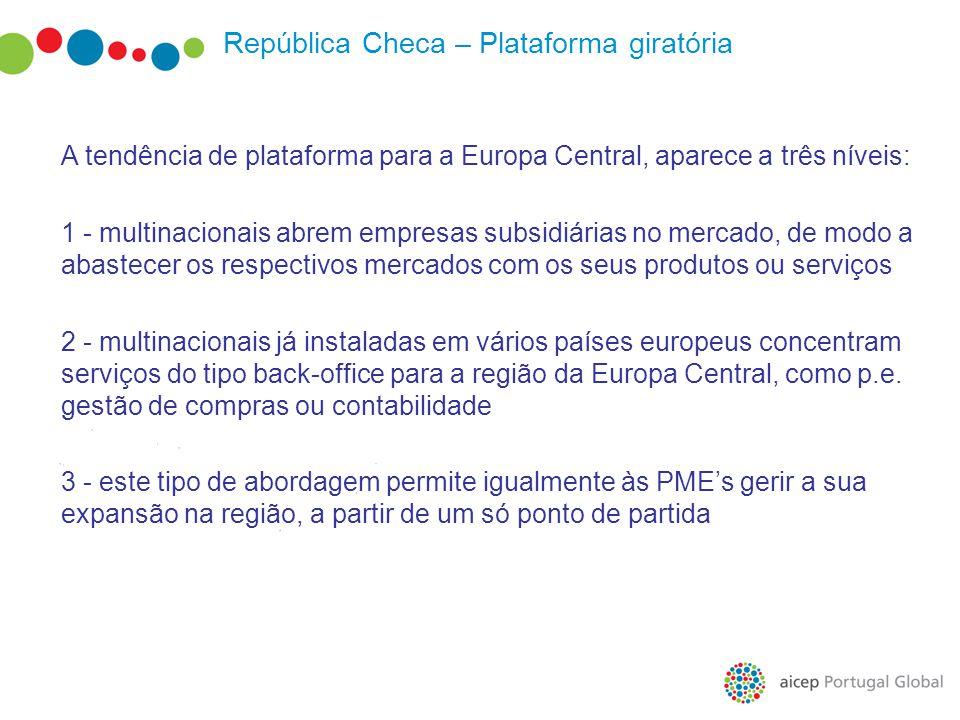 República Checa – Plataforma giratória A tendência de plataforma para a Europa Central, aparece a três níveis: 1 - multinacionais abrem empresas subsi