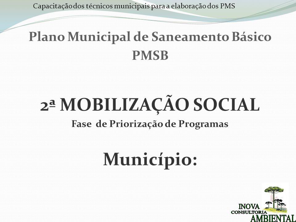Capacitação dos técnicos municipais para a elaboração dos PMS Plano Municipal de Saneamento Básico PMSB 2ª MOBILIZAÇÃO SOCIAL Fase de Priorização de Programas Município: