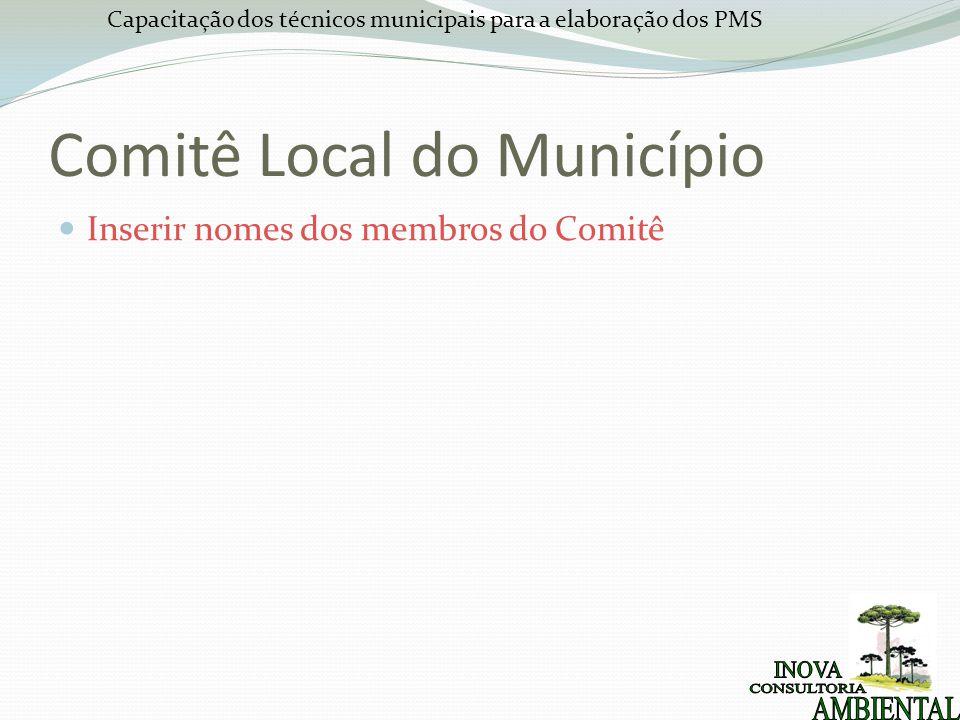 Capacitação dos técnicos municipais para a elaboração dos PMS Comitê Local do Município Inserir nomes dos membros do Comitê