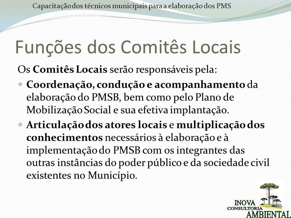Capacitação dos técnicos municipais para a elaboração dos PMS Funções dos Comitês Locais Os Comitês Locais serão responsáveis pela: Coordenação, condução e acompanhamento da elaboração do PMSB, bem como pelo Plano de Mobilização Social e sua efetiva implantação.