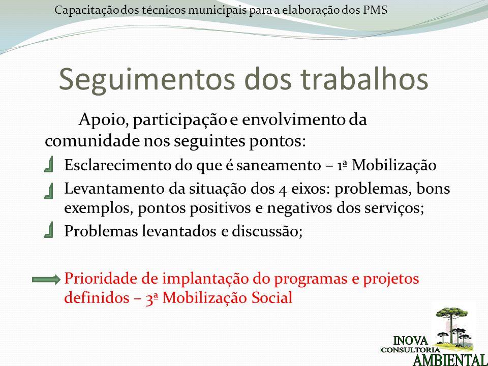 Capacitação dos técnicos municipais para a elaboração dos PMS Seguimentos dos trabalhos Apoio, participação e envolvimento da comunidade nos seguintes