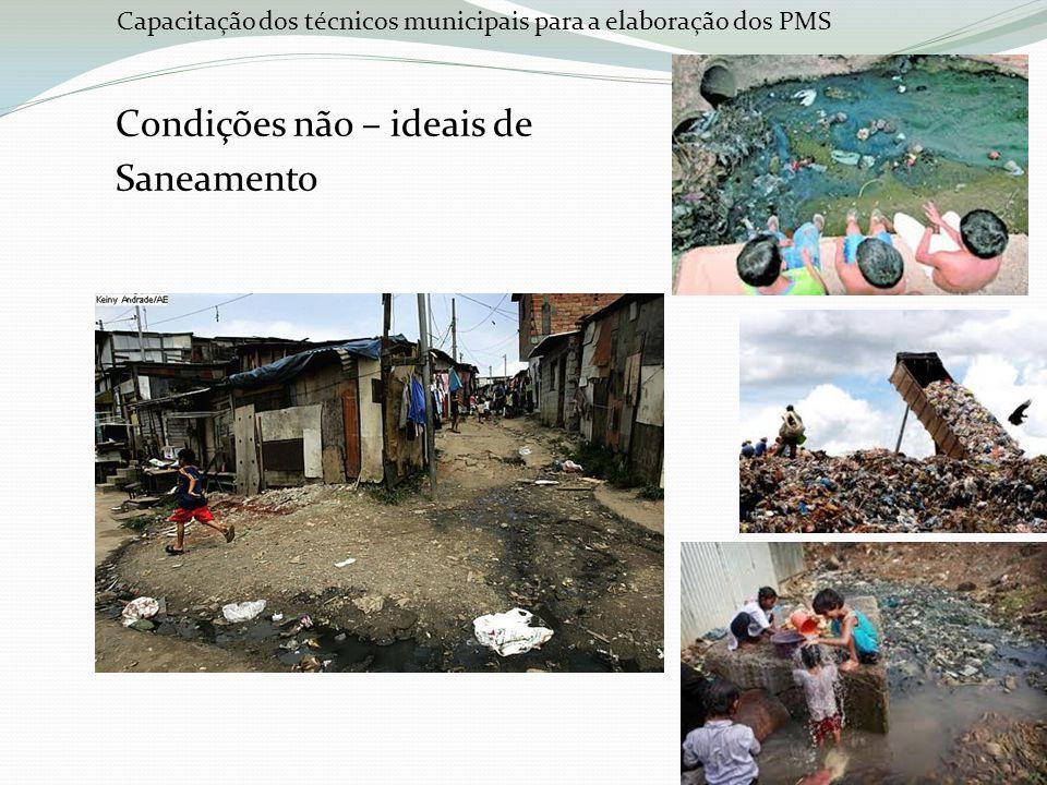 Capacitação dos técnicos municipais para a elaboração dos PMS Condições ideais Água Tratada a todos Drenagem Pluvial Separação dos resíduos Destinação Correta Esgoto tratado