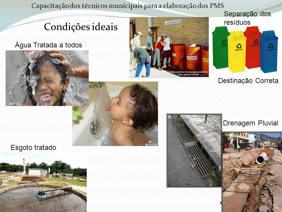 Capacitação dos técnicos municipais para a elaboração dos PMS Condições ideais Água Tratada a todos Drenagem Pluvial Separação dos resíduos Destinação