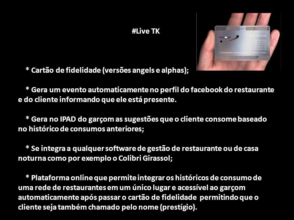 #Live TK #Live TK * Cartão de fidelidade (versões angels e alphas); * Cartão de fidelidade (versões angels e alphas); * Gera um evento automaticamente