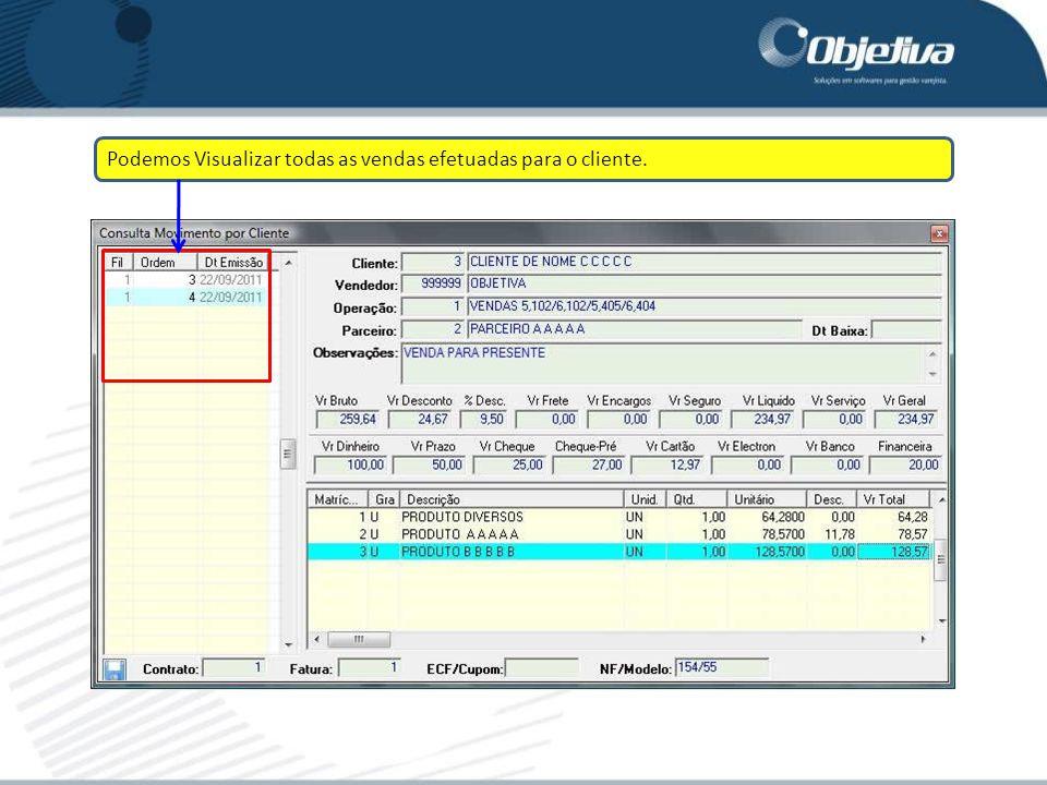 Podemos Visualizar todas as vendas efetuadas para o cliente.