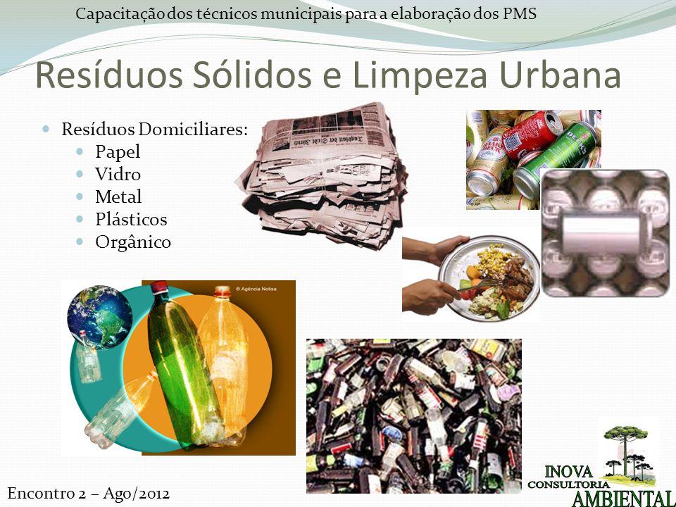 Capacitação dos técnicos municipais para a elaboração dos PMS Encontro 2 – Ago/2012 Resíduos Sólidos e Limpeza Urbana Resíduos Domiciliares: Papel Vidro Metal Plásticos Orgânico